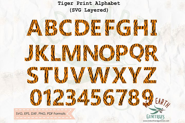 Tiger print pattern letters and numbers SVG,PNG,DXF,EPS,PDF