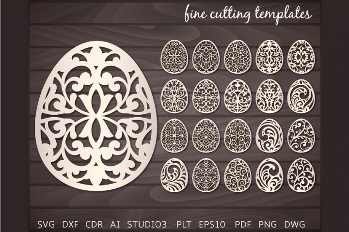 Easter Eggs lace SVG cutting template, 20 Easter Eggs set