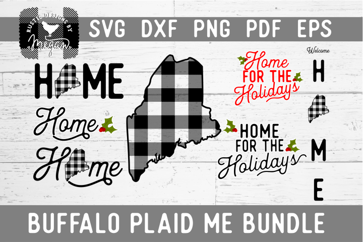 Maine Buffalo Plaid State SVG Bundle