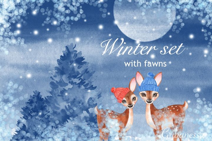 Winter set with fawns