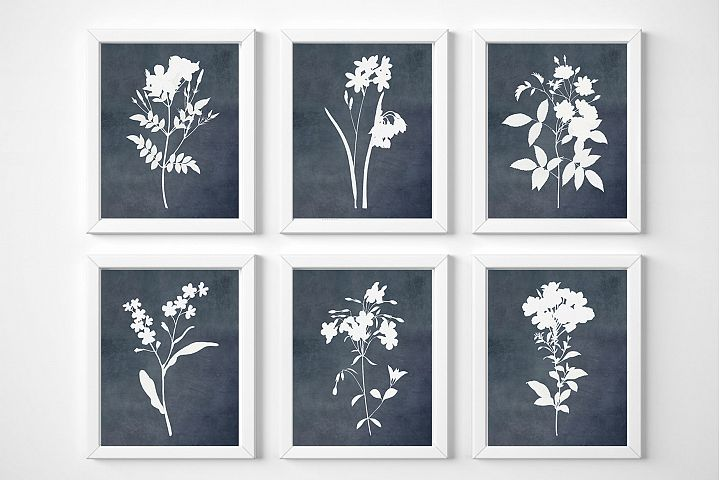 Navy Blue Wall Art, Set of 6 Prints, Flowers Printable Art