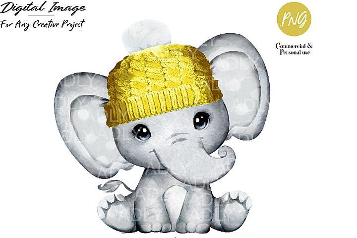 Baby elephant with yellow hat clip art,very cute little Baby