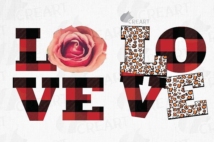 Valentine LOVE gift graphic with rose, leopard and plaid.