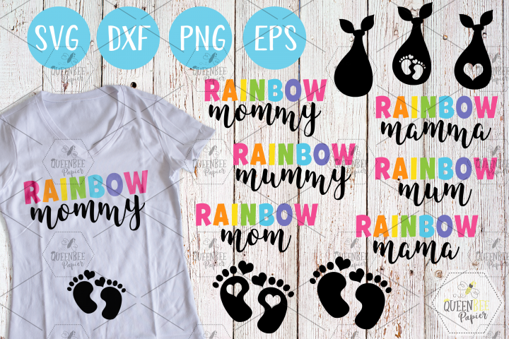 Rainbow Mom, Mama, Mamma, Mum, Mommy, Mummy SVG, PNG, EPS, DXF
