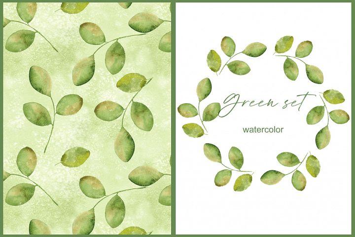 Green simple set 1. Watercolor