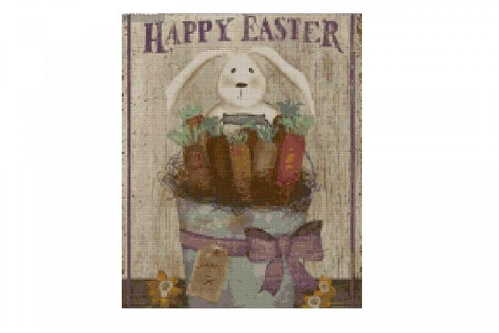 Primitive Happy Easter Cross Stitch Pattern