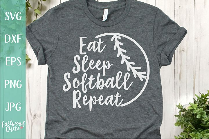 Eat Sleep Softball Repeat - A Softball SVG Cut File