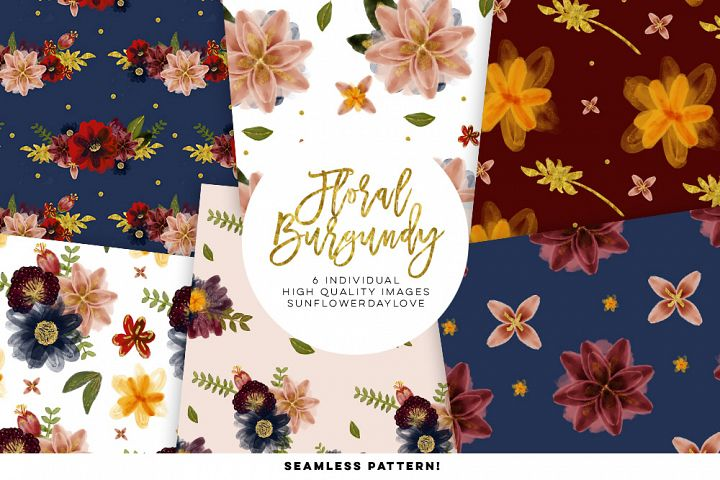 Burgundy floral watercolor seamless pattern