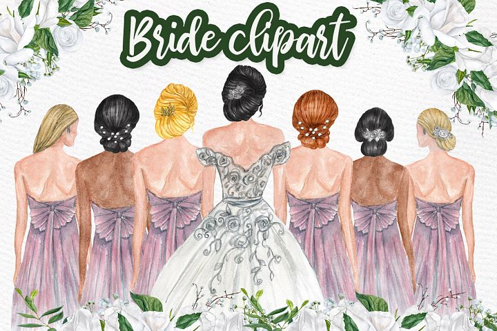 Bride and Bridesmaids clipart, Bridesmaid illustrations