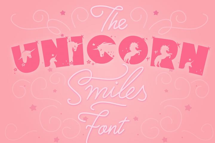 Unicorn Smiles Layered Font plus Bonus Files | Unicorn Font