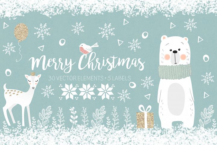 Christmas collection, white haliday clipart