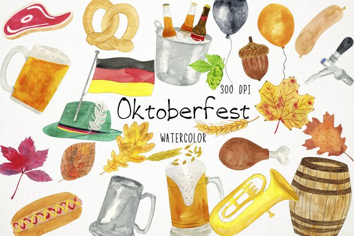 Watercolor Oktoberfest Clipart, Oktoberfest Clip Art, Beer