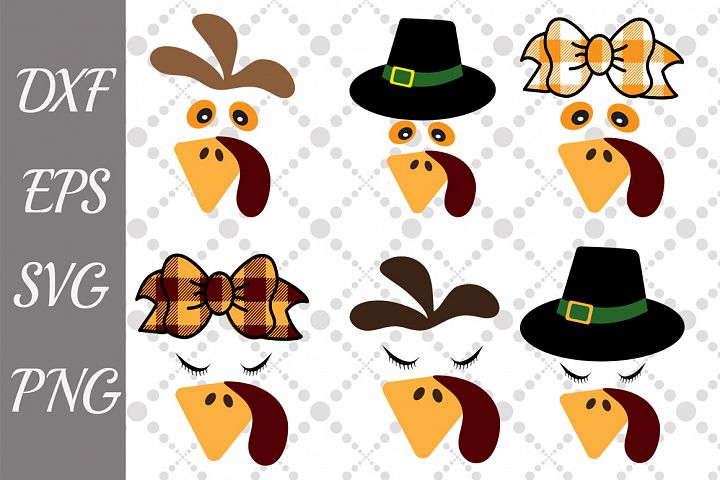 Turkey Face Bundle Svg, BUNDLE TURKEY SVG, Cute Turkey Svg