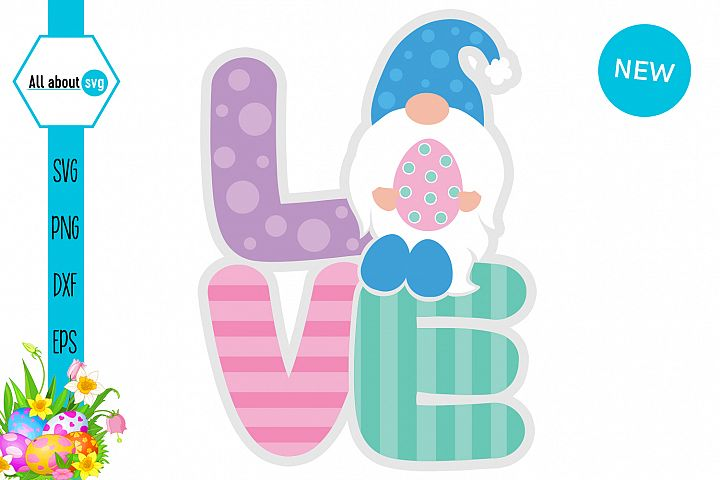 Love Gnome Easter Svg