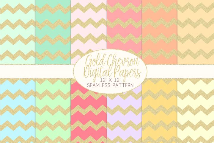 Gold Glitter Chevron Pattern Digital Papers