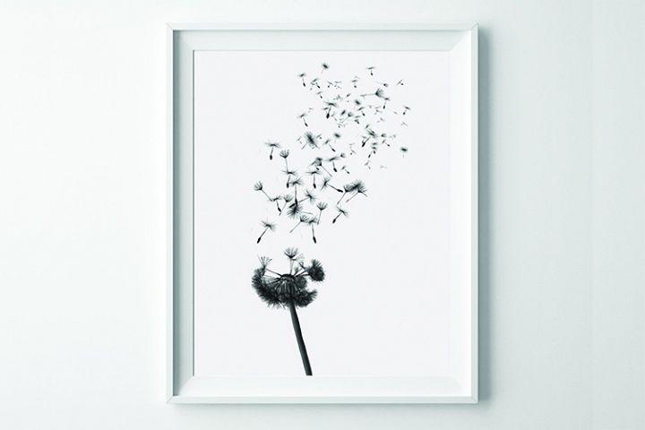 Dandelion Wall Art, Black and White Prints, Monochrome Print