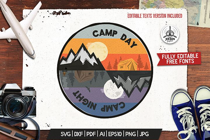 Camp Day Camping Night Adventure Logo, Retro Shirt SVG File