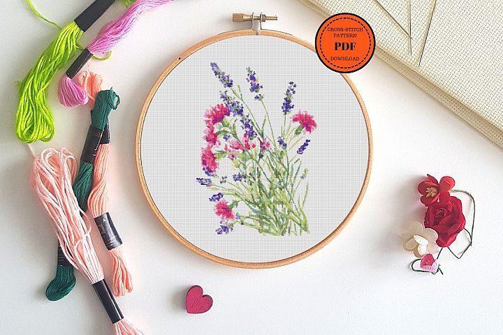 Wild flowers bouquets Cross Stitch pattern PDF, Lavender