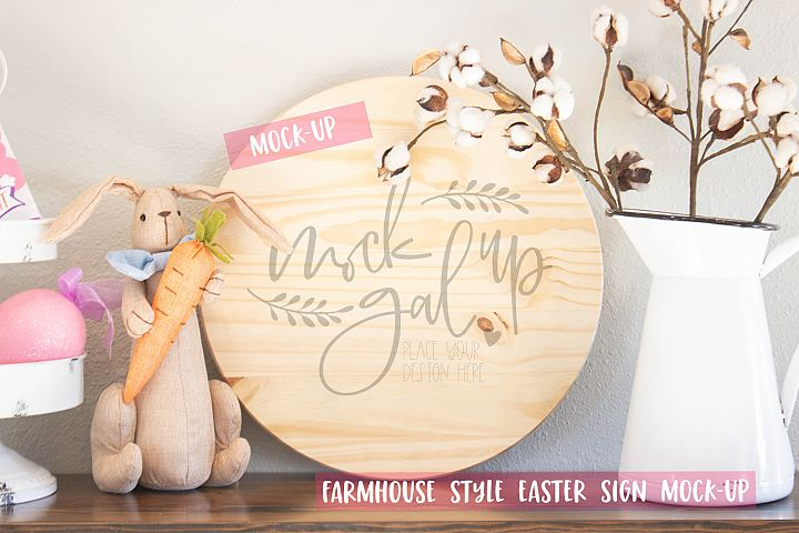 Easter Sign Mock Up - Large Round Sign No. 2 - Spring Mockup