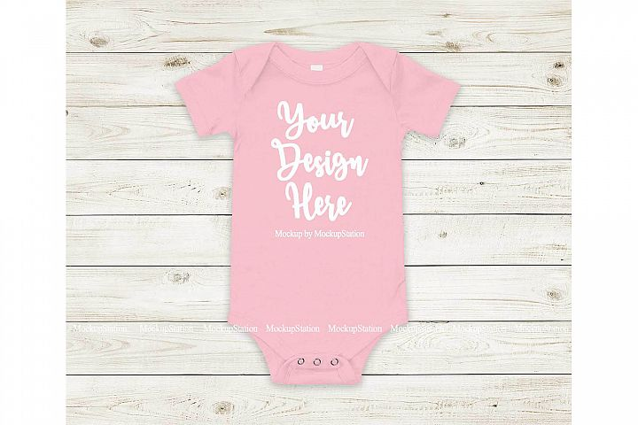 Baby Pink Bodysuit Mockup, Blank Newborn Infant Toddler Tee