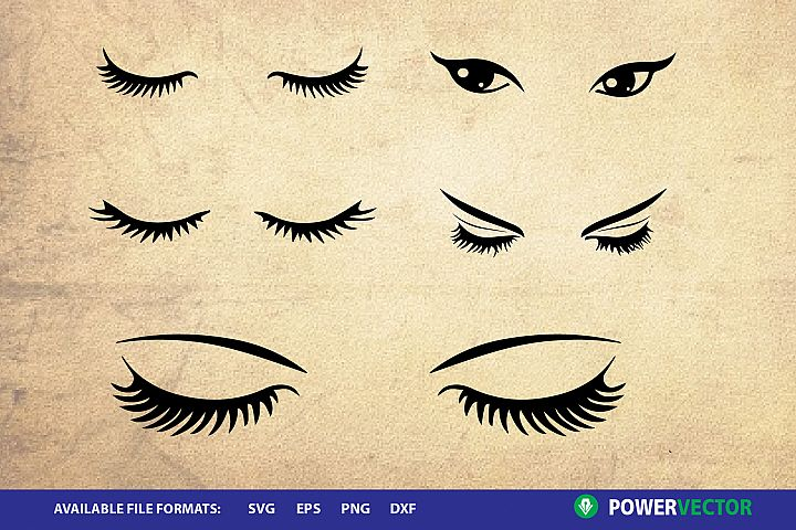 Eyelashes Clipart - SVG DXF Cut Files