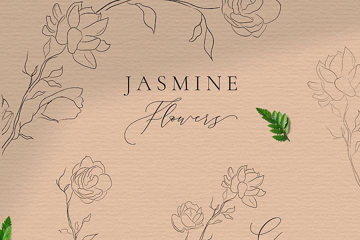 Line drawing delicate wreaths & floral frames illustration.