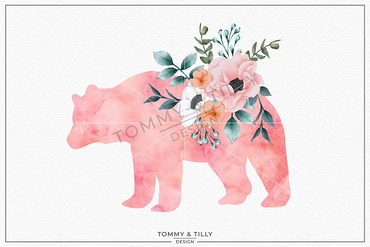 Bear Watercolour Silhouette - Sublimation PNG Clipart