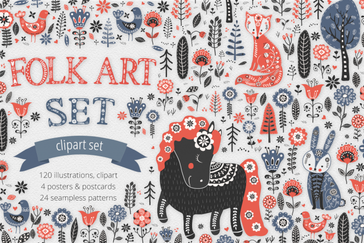Folk Art Illustration Set