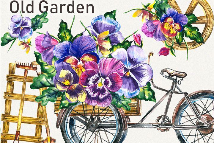 Garden clipart, spring clipart, garden tools,pansy clipart