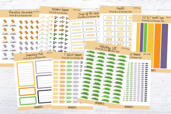 Printable plus Clip Art - Sticker Kit - Set#DD-ST187-195