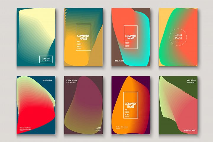 Trendy cool neon abstract modern book covers geometric