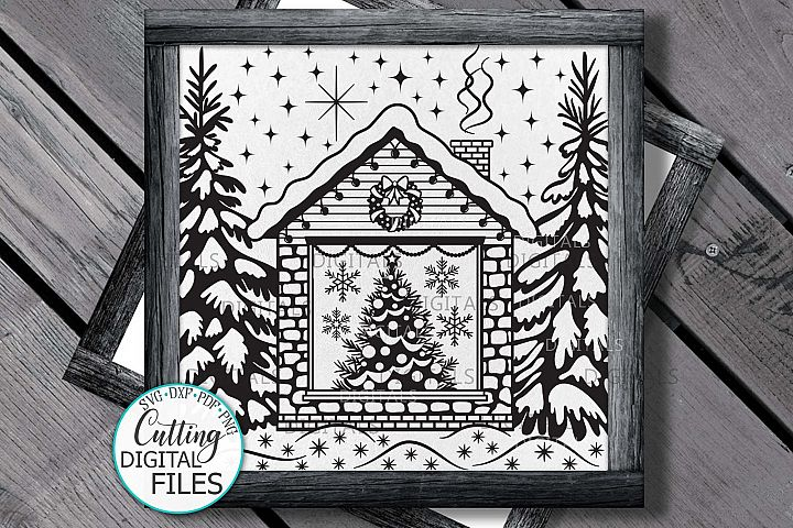 Christmas House with Tree Winter scene printable cutting svg example image 2