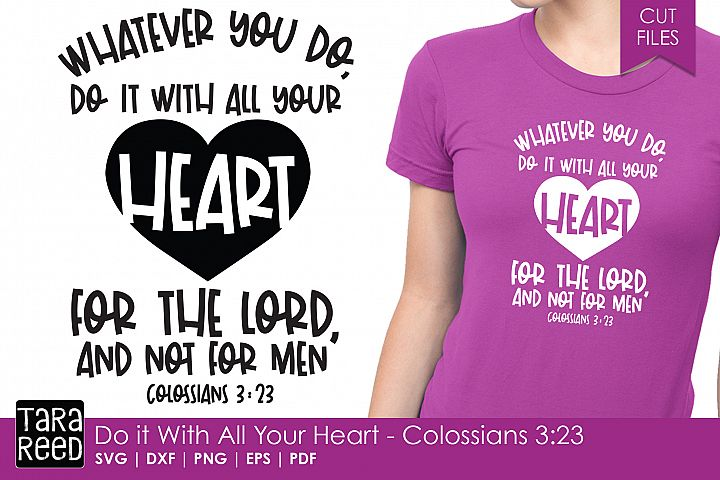 Do with All your Heart - Bible Verse SVG and Cut Files