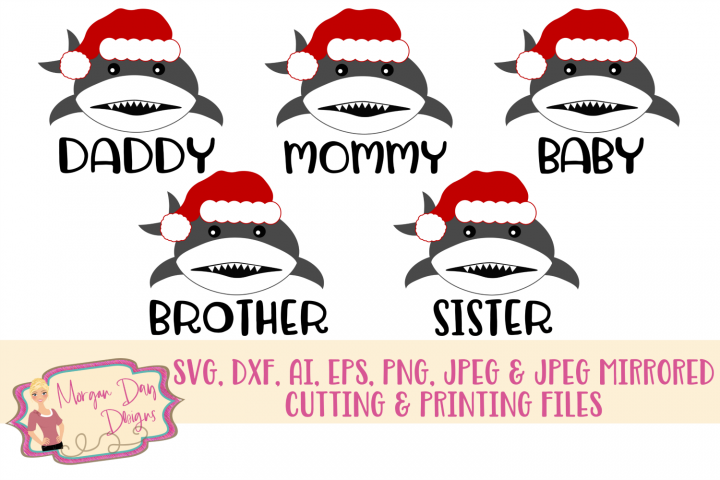 Christmas Shark Bundle 1 SVG, DXF, AI, EPS, PNG, JPEG