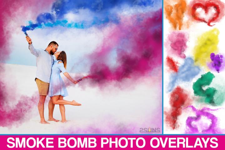 Smoke Bomb Overlays, Colorful Smoke fog, photoshop overlays