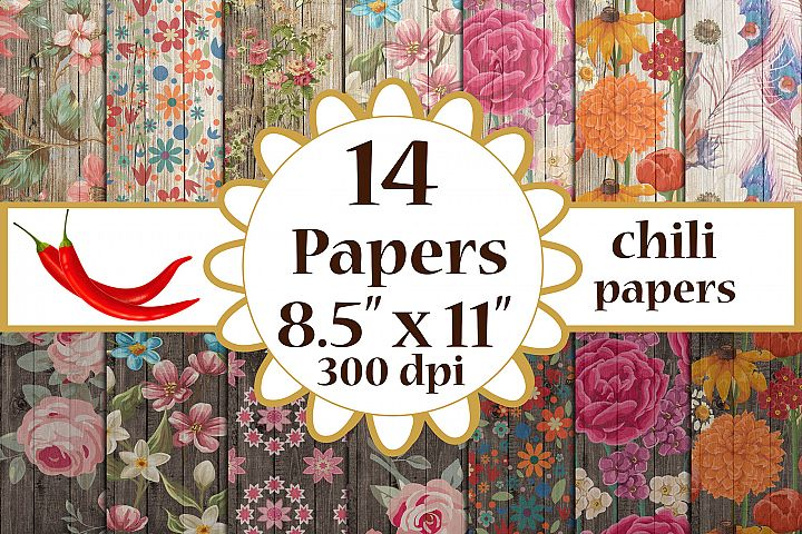 Wood Floral Paper, Floral cottage papers,Vintage Floral A4