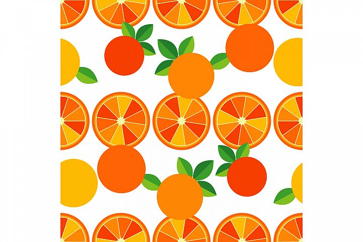 Decorative oranges. Set of 10 seamless patterns.