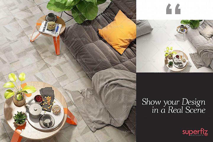 Blank Floor PSD Mockup Livingroom SM85