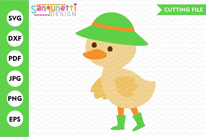 Spring duck SVG, baby duck cut file
