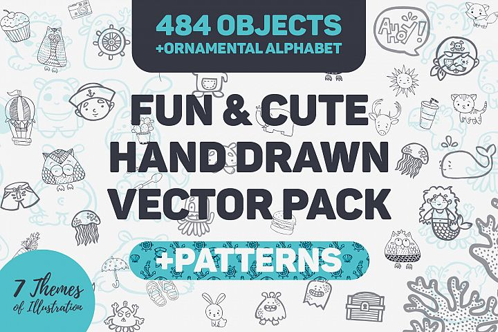 Fun & Cute Hand Drawn Vector Pack +Patterns