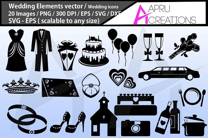 wedding silhouette svg bundle. wedding elements vector