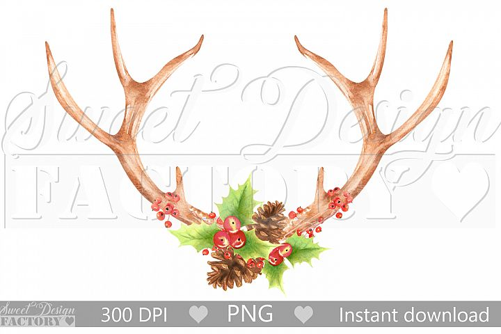 Watercolor Antlers clipart , christmas sublimation design