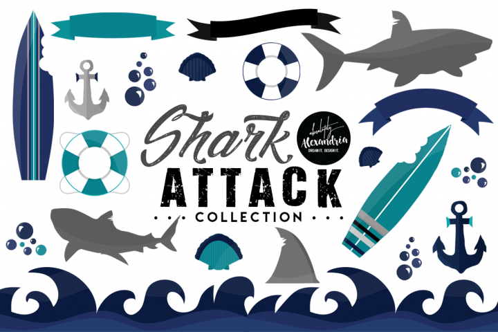 Shark Attack Clipart Graphics & Digital Paper Patterns Bundle
