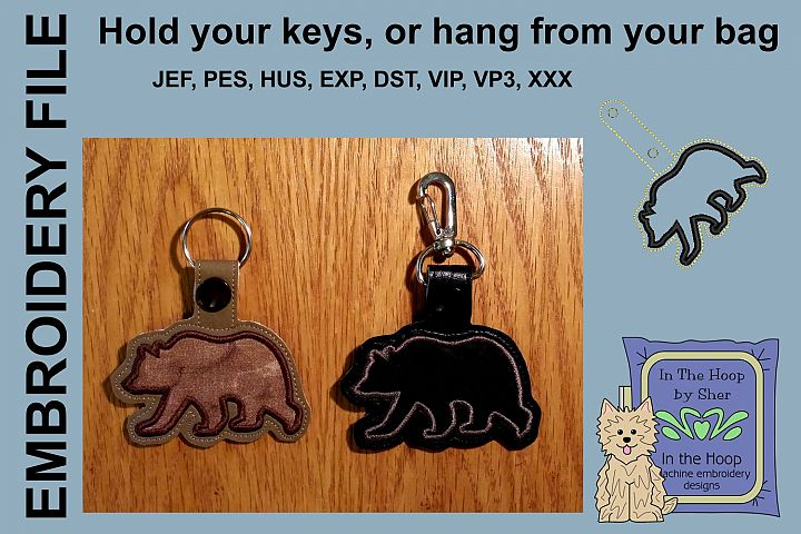 ITH Silhouette Bear Key Fob - Embroidery Design