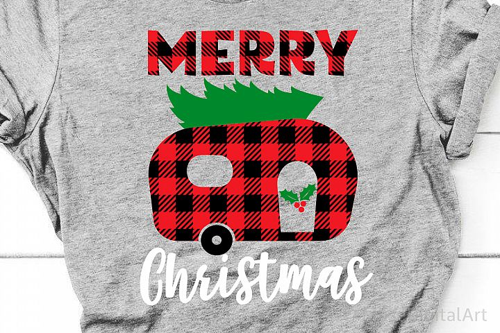 Merry Christmas Svg, Buffalo Plaid Svg, Buffalo Plaid Camper