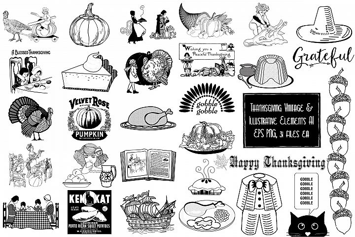 Thanksgiving Vintage and Illustrative Elements AI EPS PNG