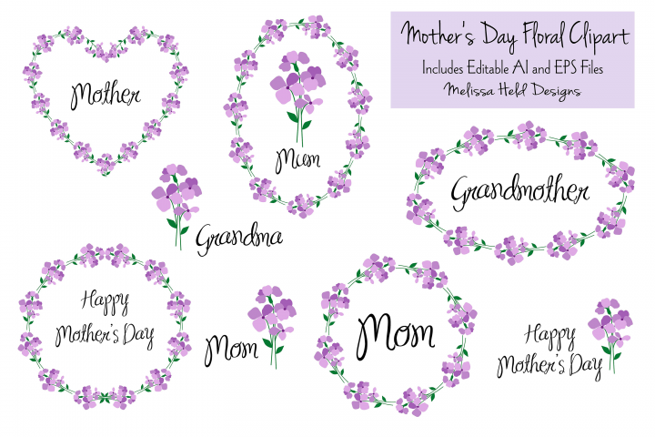Mothers Day Floral Clipart