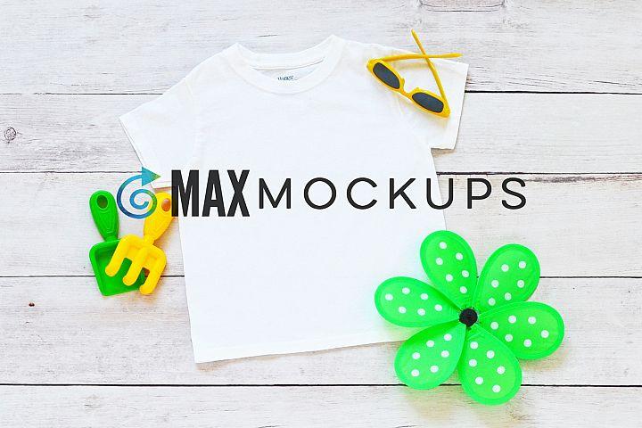 Kids t-shirt mockup, summer flatlay, styled photography