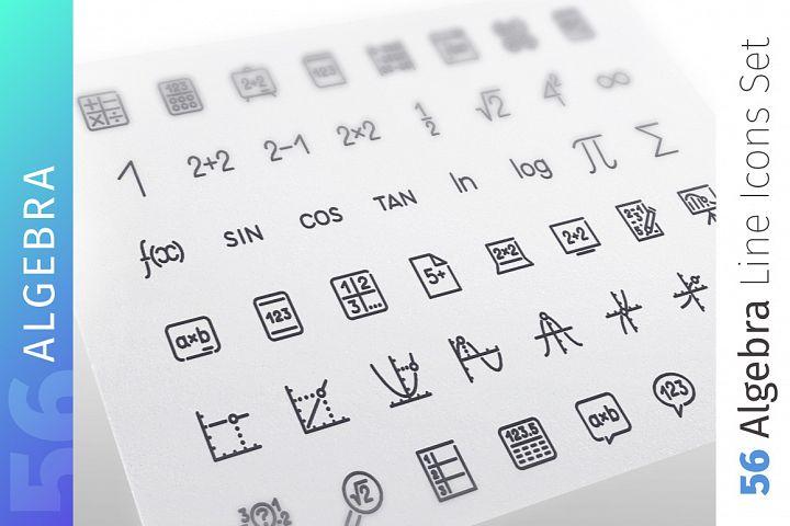 Algebra Line Icons Set