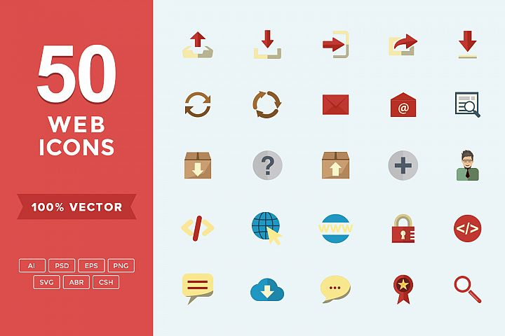 Web Set Flat Vector Icons